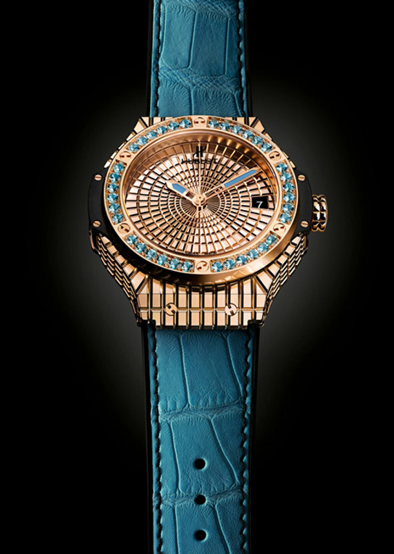 "Hublot Big Bang Caviar ""Lady 305"" Gold Watch"