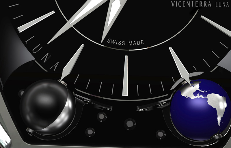 Vicenterra Luna Watch Dial Detail