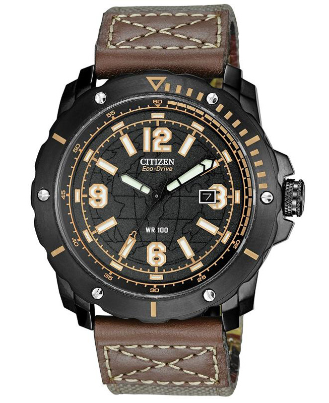 Citizen Eco-Drive Military BME Black Dial (Orange Accents) Watch