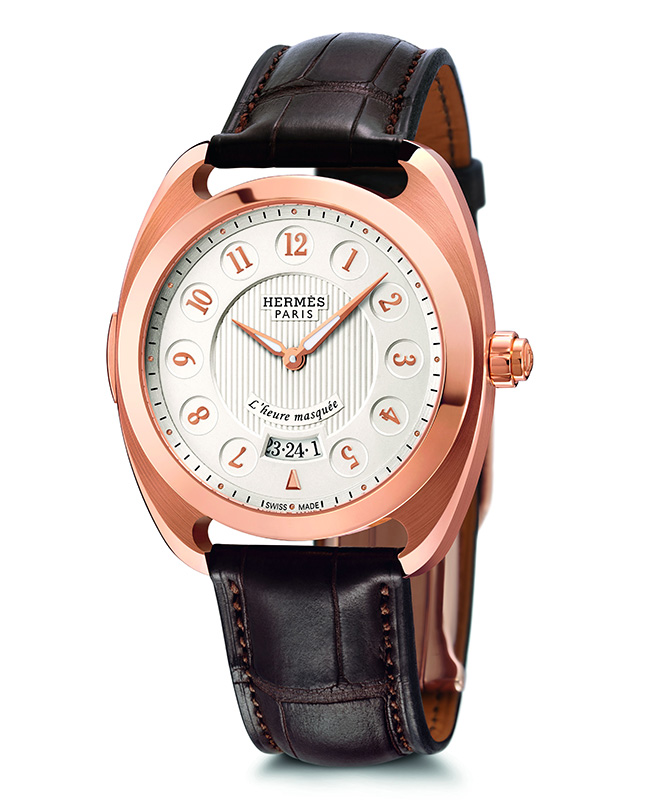 Hermes Dressage L'heure Masquee Red Gold Watch Front