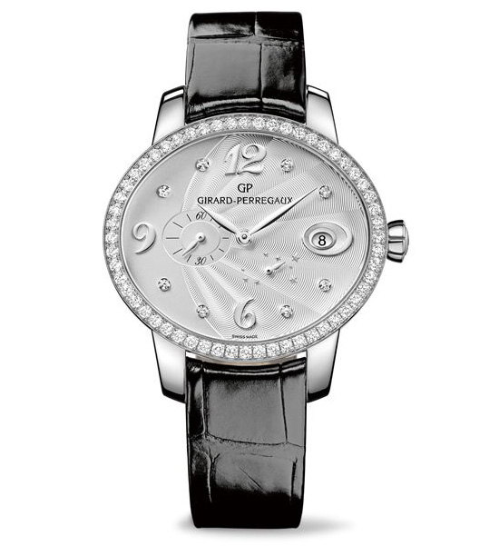 Girard-Perregaux Cat's Eye Power Reserve Leather Watch Silver Dial