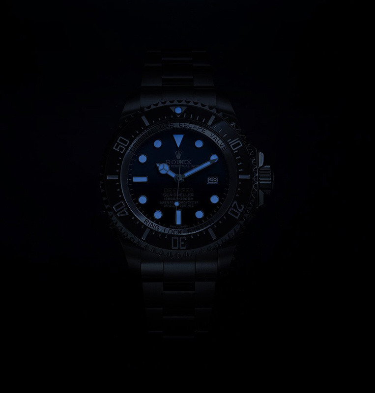 Rolex Deepsea D-Blue Dial Watch In Dark