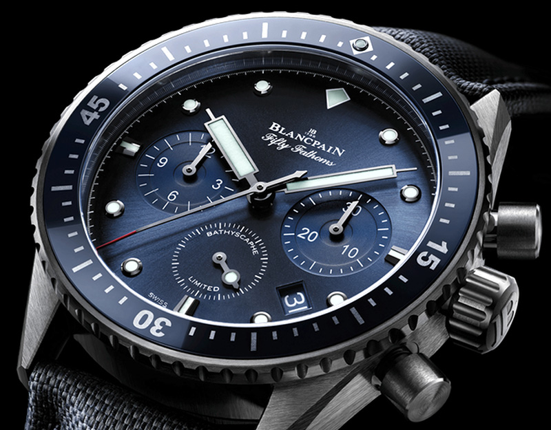 "Blancpain ""Ocean Commitment"" Bathyscaphe Chronograph Flyback Watch Dial"