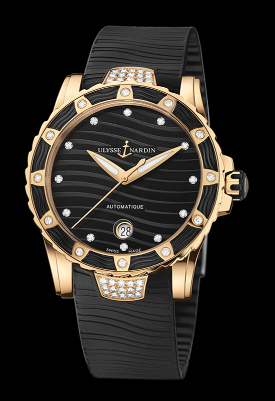 Ulysse Nardin Lady Diver Rose Gold Black Dial Watch