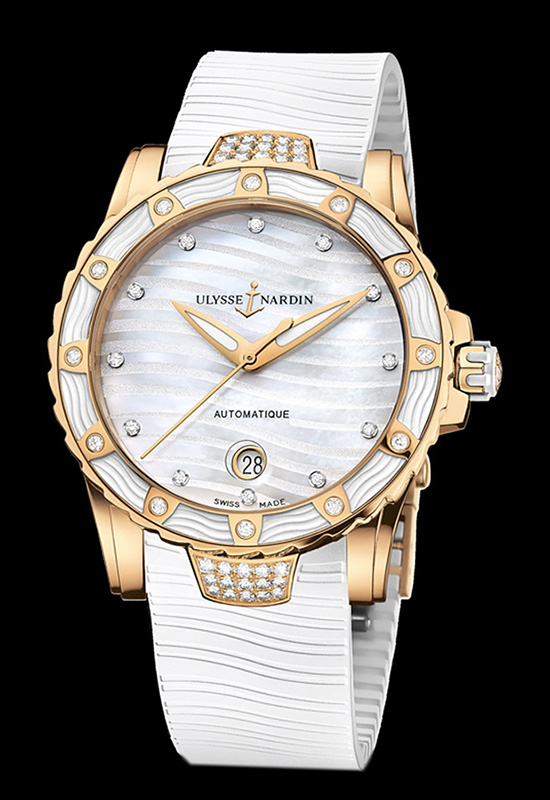 Ulysse Nardin Lady Diver Rose Gold White Dial Watch
