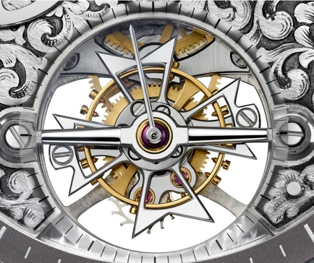 Vacheron Constantin Metiers d'Art Mechaniques Gravees 14-Day Tourbillon Watch Detail